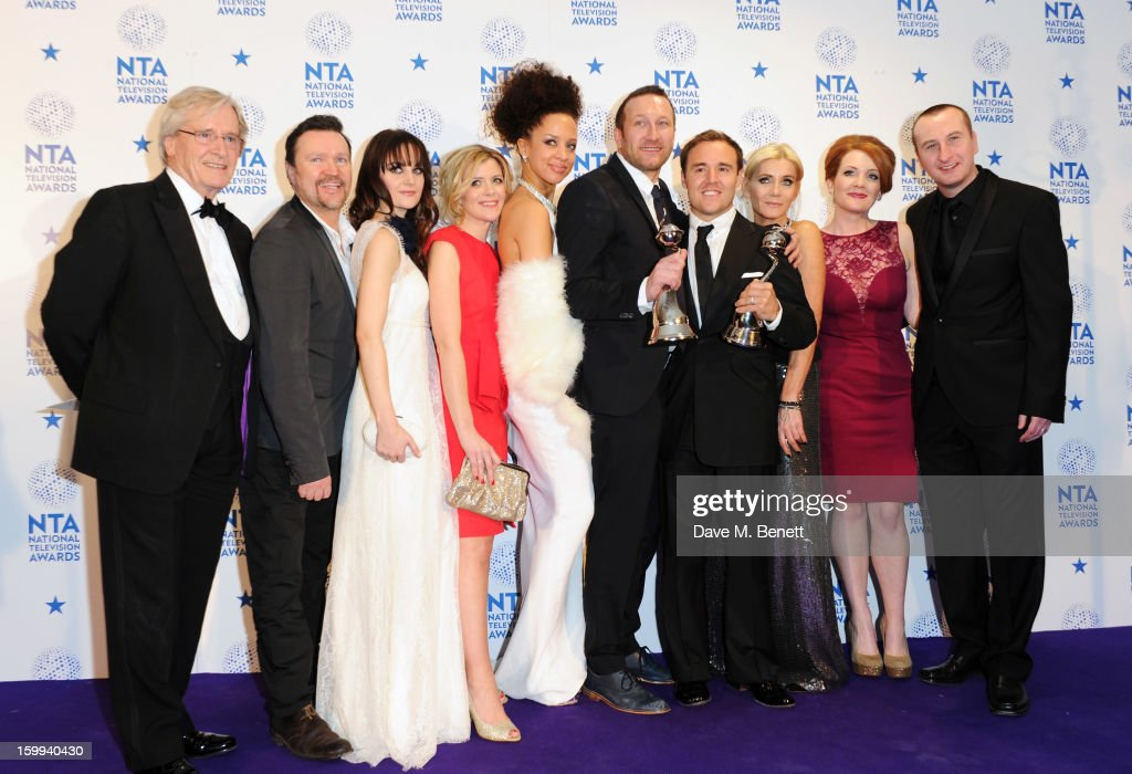 Cast of Coronation Street, winner of Serial Drama, pose in the Winners room at the National Television Awards at 02 Arena on January 23, 2013 in London, England.