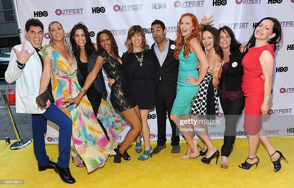 Cast of 'Crazy Bitches' with Outfest Executive Director Kirsten Schaffer (C)attend the 2014 Outfest opening night gala of 'Life Partners' at Orpheum Theatre on July 10, 2014 in Los Angeles, California.