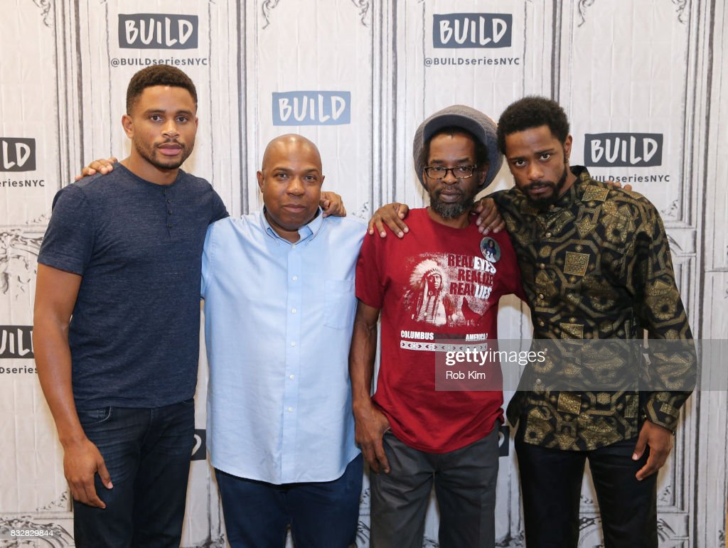 Cast of 'Crown Heights' Nnamdi Asomugha, Carl King, Colin Warner and Lakeith Stanfield visit at Build Studio on August 16, 2017 in New York City.