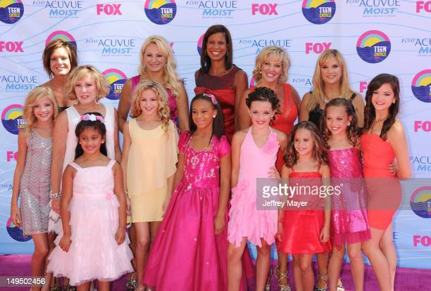 Cast of Dance Moms arrive at the 2012 Teen Choice Awards at Gibson Amphitheatre on July 22 2012 in Universal City California