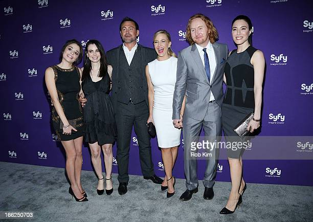 Cast of 'Defiance' Stephanie Leonidas Mia Kirshner Grant Bowler Julie Benz Tony Curran and Jaime Murray attend Syfy 2013 Upfront at Silver Screen...