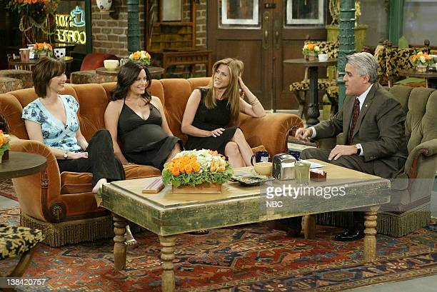 LENO Cast of Friends Air Date Episode 2705 Pictured Cast of Friends Lisa Kudrow Courteney Cox Jennifer Aniston during an interview with host Jay Leno...