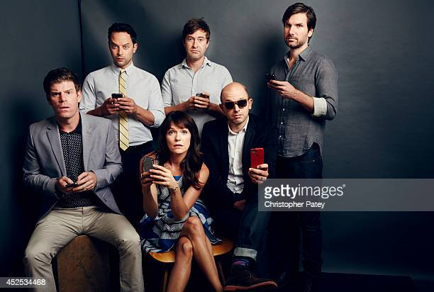 Cast of FX's 'The League' Actors Steven Rannazzisi Nick Kroll Katie Aselton Mark Duplass Paul Scheer and Jon Lajoie pose for a portrait session...