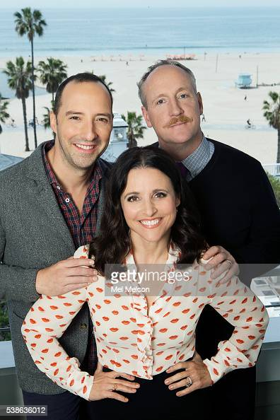 Cast of HBO's 'Veep' Julia LouisDreyfus Tony Hale and Matt Walsh are photographed for Los Angeles Times on April 6 2016 in Los Angeles California...