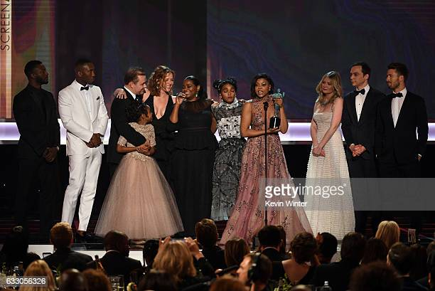 Cast of 'Hidden Figures' accepts Outstanding Performance by a Cast in a Motion Picture onstage during The 23rd Annual Screen Actors Guild Awards at...
