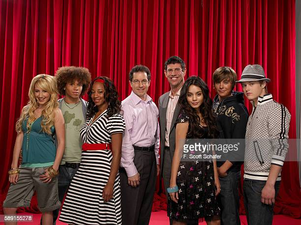 The cast of High School Musical with Gary Marsh President of Entertainment for Disney Channel Worldwide and Rich Ross President of Disney Channel...
