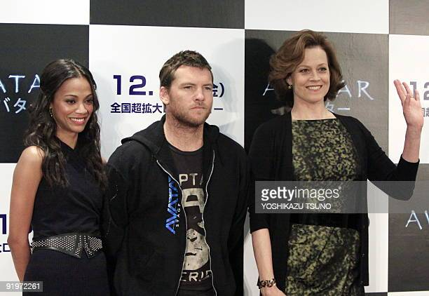 Cast of Hollywood movie 'Avatar' Zoa Saldana Sam Worthington and Sigourney Weaver pose for photo during a press conference for their latest movie...
