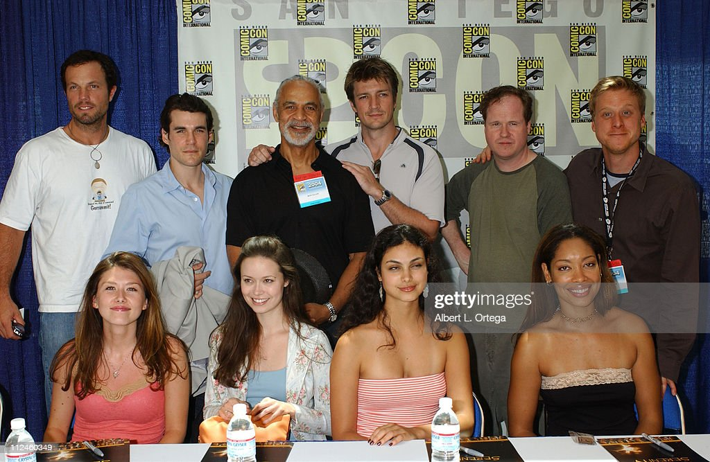 Cast of Joss Whedon's 'Serenity' during 2004 San Diego ComicCon International Day Four at San Diego Convention Center in San Diego CA United States