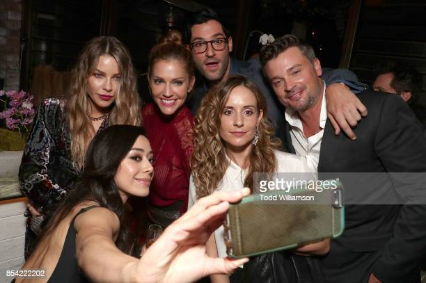 Cast of Lucifer Aimee Garcia Lauren German Tricia Helfer Tom Ellis and friends attend the FOX Fall Party at Catch LA on September 25 2017 in West...
