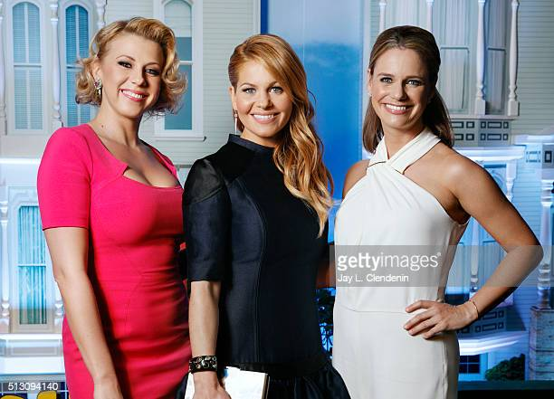 Cast of Netflix's 'Fuller House' Candace Cameron Bure Jodie Sweetin Andrea Barber are photographed for Los Angeles Times on February 16 2016 in Los...