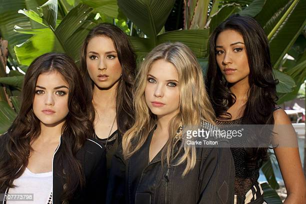 Cast of Pretty Little Liars Lucy Hale Troian Avery Bellisario Ashley Benson and Shay Mitchell pose at a photo shoot for Nylon Magazine on July 9 2010...