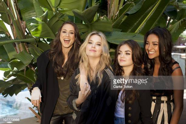 Cast of Pretty Little Liars Troian Avery Bellisario Ashley Benson Lucy Hale and Shay Mitchell pose at a photo shoot for Nylon Magazine on July 9 2010...
