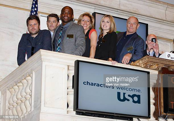 Cast of Psych James Roday Timothy Omundson Dule Hill Kirsten Nelson Maggie Lawson and Corbin Bernsen visit the New York Stock Exchange on October 6...