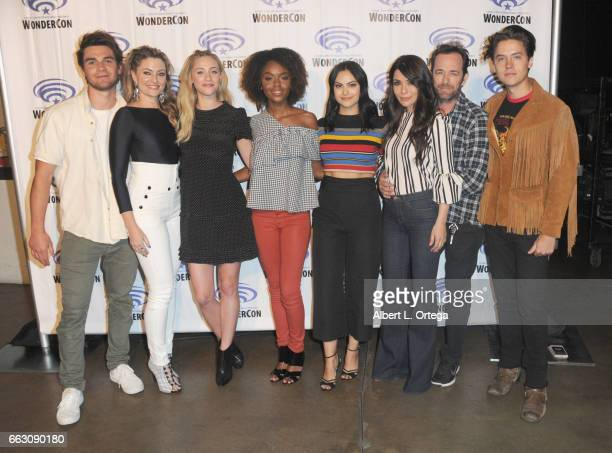 Cast of 'Riverdale' KJ Apa Madchen Amick Ashleigh MurrayHayley Law Camila Mendes Marisol Nichols Luke Perry and Cole Sprouse attends Day 1 of...