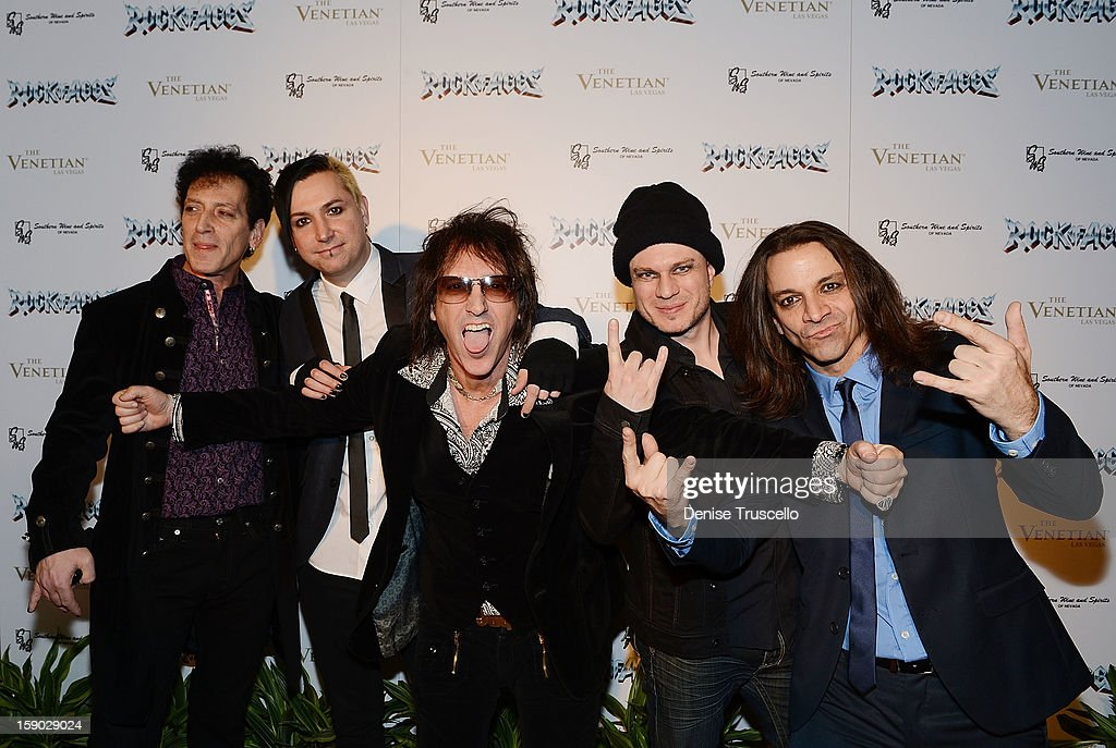 Cast of Rock of Ages arrives at the Rock Of Ages opening after party at The Venetian on January 5, 2013 in Las Vegas, Nevada.
