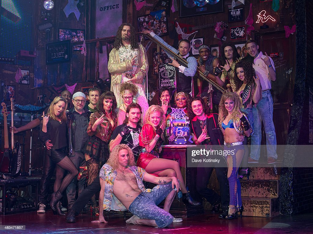 Cast of 'Rock Of Ages' pose at the 5th Anniversary On Broadway celebration at Helen Hayes Theatre on April 8 2014 in New York City