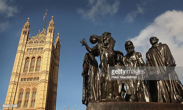 A cast of Rodin's sculpture 'The Burghers of Calais' stands in Victoria Tower Gardens in front of The House of Lords on January 26 2009 in London The...