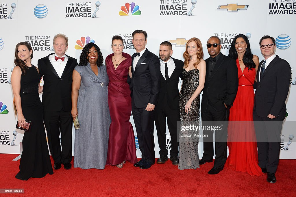 Cast of 'Scandal' arrives at the 44th NAACP Image Awards held at The Shrine Auditorium on February 1, 2013 in Los Angeles, California.