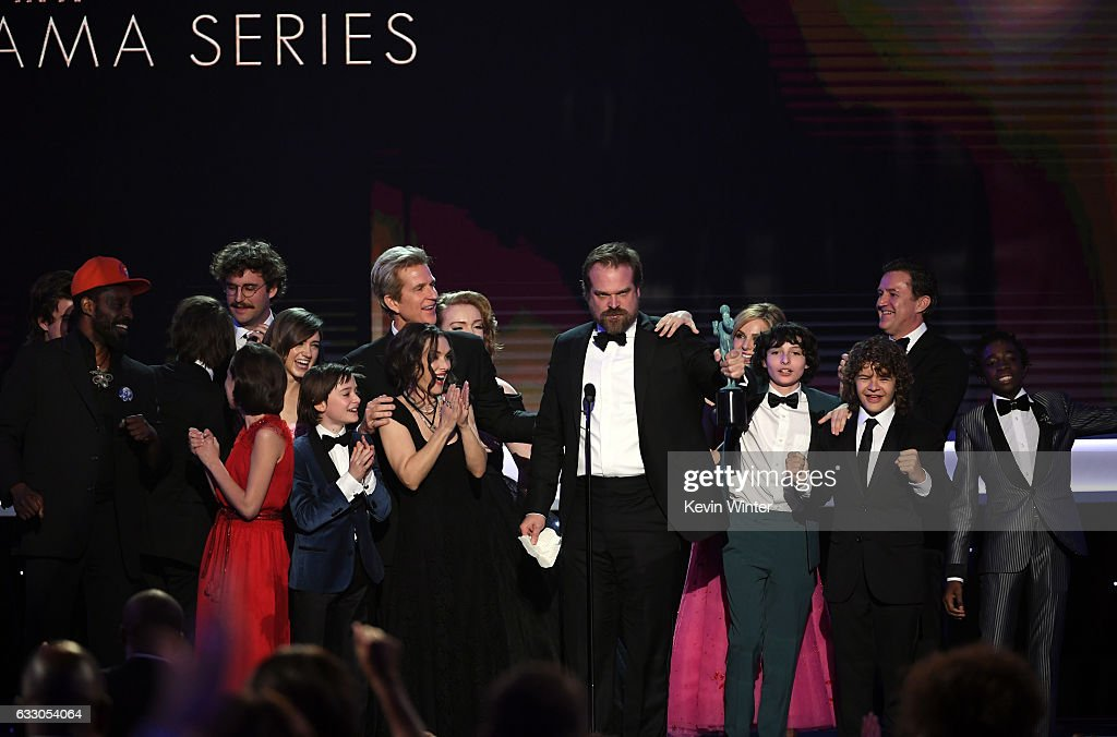 Cast of 'Stranger Things' accepts Outstanding Performance by an Ensemble in a Drama Series onstage during The 23rd Annual Screen Actors Guild Awards at The Shrine Auditorium on January 29, 2017 in Los Angeles, California. 26592_014