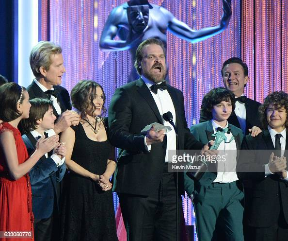 Cast of 'Stranger Things' accepts Outstanding Performance by an Ensemble in a Drama Series onstage during The 23rd Annual Screen Actors Guild Awards...