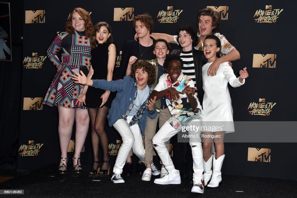 Cast of 'Stranger Things', winner of the Show of the Year award, poses in the press room during the 2017 MTV Movie And TV Awards at The Shrine Auditorium on May 7, 2017 in Los Angeles, California.