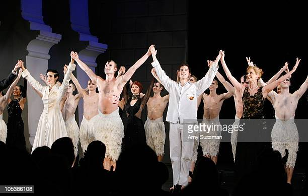 Cast of Swan Lake bow at curtain call at the first gala performance of the New York return of Matthew Bourne's 'Swan Lake' at New York City Center on...