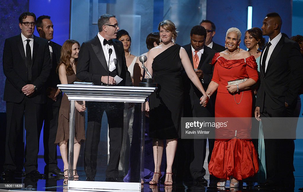 Cast of 'Sweetie Pie' speaks onstage during the 44th NAACP Image Awards at The Shrine Auditorium on February 1, 2013 in Los Angeles, California.