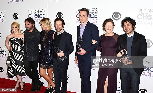 Cast of The Big Bang Theory pose in the press Room at the People's Choice Awards 2016 at Microsoft Theater in Los Angeles California on January 6...