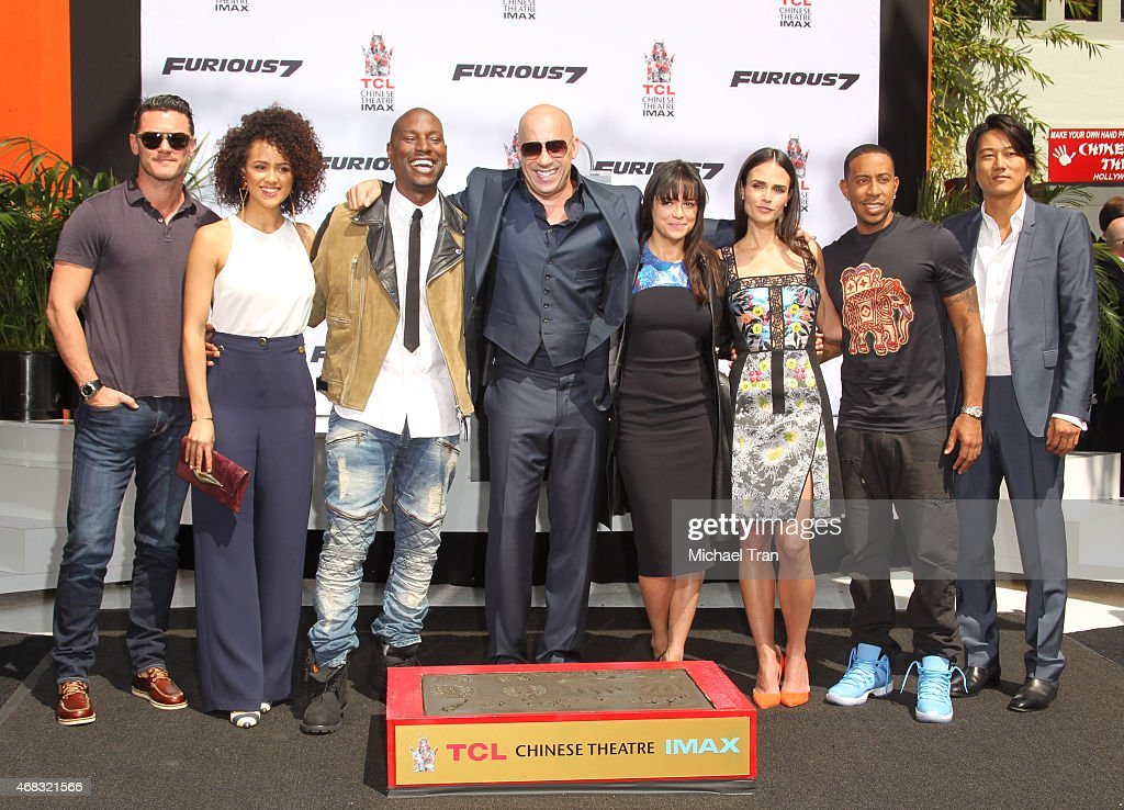Cast of the Fast and Furious franchise attend the hand and footprint ceremony honoring Vin Diesel held at TCL Chinese Theatre IMAX on April 1 2015 in...