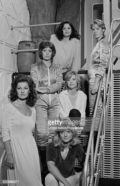 Cast of the film Inseminoid posed together on set on 6th June 1980 Clockwise from bottom left Stephanie Beacham Rosalind Lloyd Jennifer Ashley...