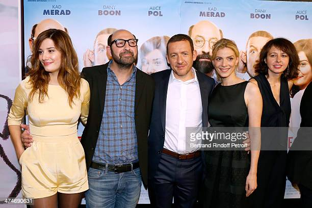 Cast of the movie Alice Pol Kad Merad Director and actor Dany Boon Judith El Zein and Valerie Bonneton attend the 'Supercondriaque' Paris movie...