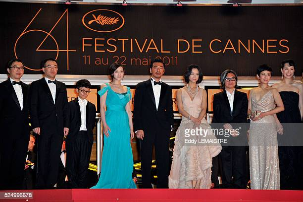 Cast of the movie at the premiere of 'Wu Xia' during the 64th Cannes International Film Festival