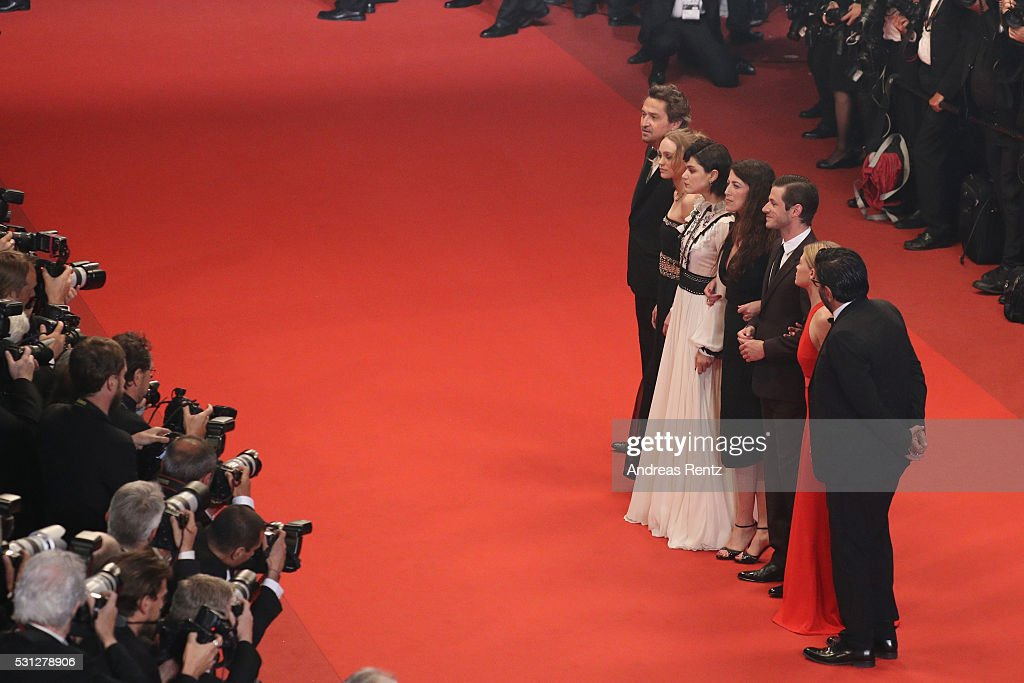 Cast of the movie 'The Dancer' producer Alain Attal, actors Melanie Thierry, Gaspard Ulliel, director St��phanie Di Giusto, actors Soko, Lily-Rose Depp and Louis-Do de Lencquesaing attend the 'I, Daniel Blake' premiere during the 69th annual Cannes Film Festival at the Palais des Festivals on May 13, 2016 in Cannes, France.