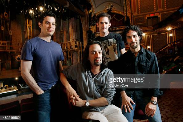 Cast of the new Broadway show 'Hamilton' LinManuel Miranda Thomas Kail Andy Blankenbeuhler Alex Lacamoire are photographed at the Richard Rodgers...