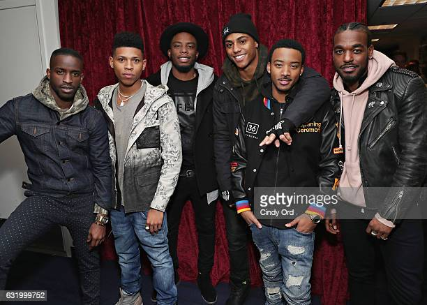Cast of 'The New Edition Story' Actors Elijah Kelley Bryshere Y Gray Woody McClain Keith Powers Algee Smith and Luke James visit the SiriusXM Studios...