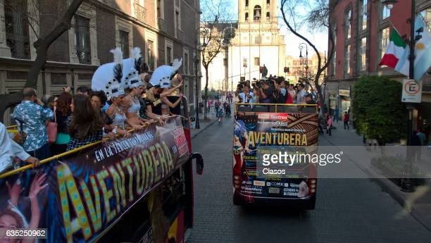 Cast of the play Aventura ride around the city in a touristic bus promoting their play on February 09 2017 in Mexico City Mexico