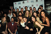 Cast of the Rock of Ages Reunion Concert backstage at the 'Rock Of Ages' Broadway Cast Reunion Concert at Highline Ballroom on January 25 2016 in New...