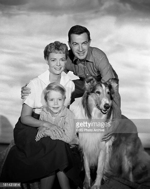 Cast of the show LASSIE clockwise from upper left June Lockhart Hugh Reilly Lassie and Jon Provost Image dated July 7 1958