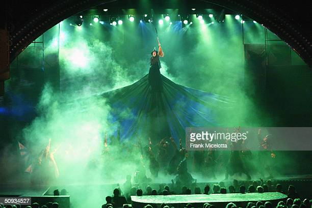 Cast of 'Wicked' perform on stage during the '58th Annual Tony Awards' at Radio City Music Hall on June 6 2004 in New York City The Tony Awards are...