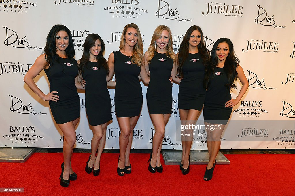 Cast of 'X Burlesque' arrive at the 'Jubilee!' show's grand reopening at Ballys Las Vegas on March 29, 2014 in Las Vegas, Nevada.