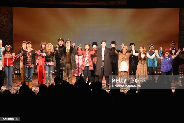 Cast perform onstage at the 'Groundhog Day' Broadway Opening Night at August Wilson Theatre on April 17 2017 in New York City
