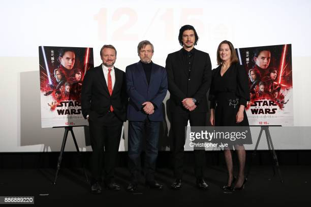 Cast pose for photographs during the 'Star Wars The Last Jedi' Japan Premiere Red Carpet at Roppongi Hills on December 6 2017 in Tokyo Japan