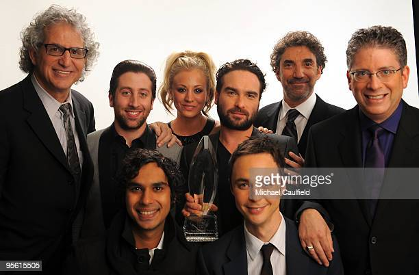 Cast with writers and producers of The Big Bang Theory pose for a portrait during the People's Choice Awards 2010 held at Nokia Theatre LA Live on...