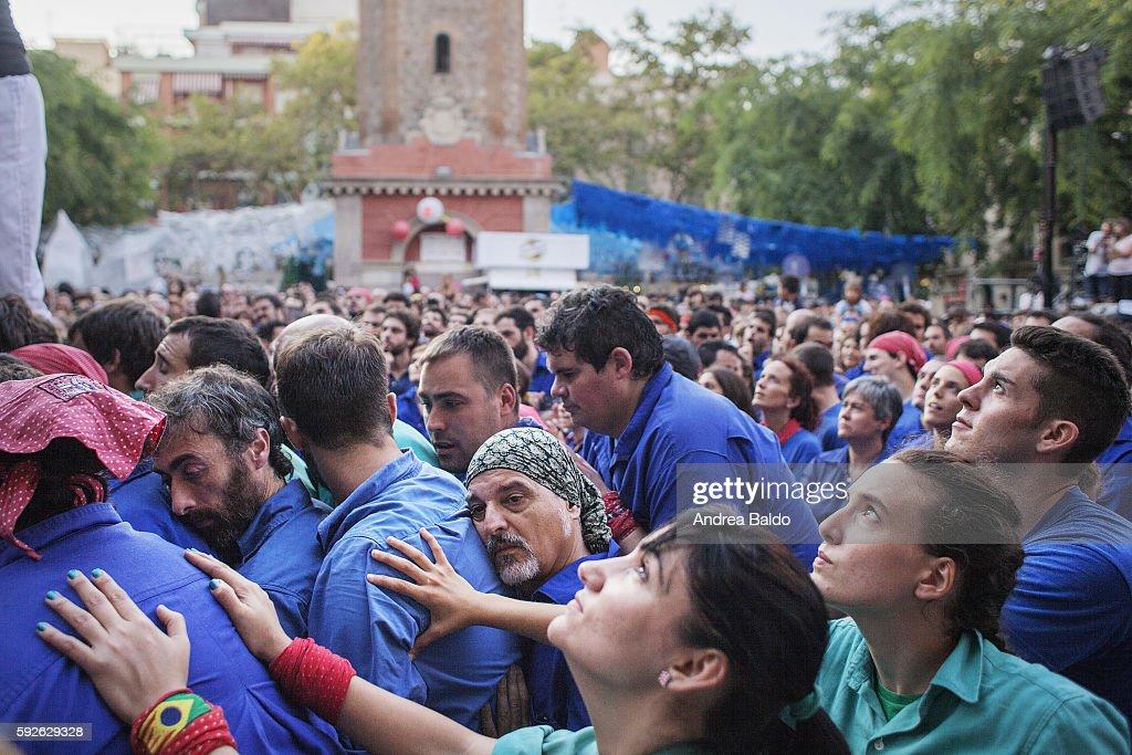 GRACIA BARCELONA CATALUNYA SPAIN Castellers perform their show over the week of Festa Major de Gracia in Plaza de la Vila de Gracia in Barcelona...