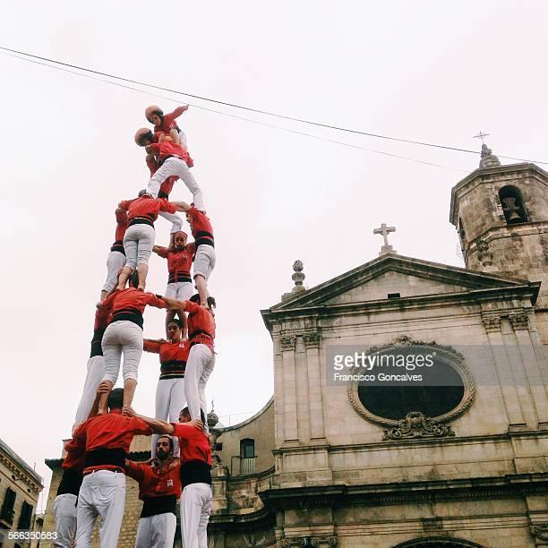 Castellers performing in La Mercè square in Barcelona's Gothic Quarter