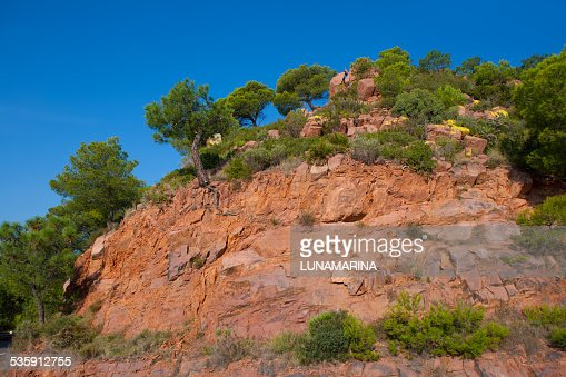 Castellon Desierto de las Palmas desert red mountains : Stock Photo