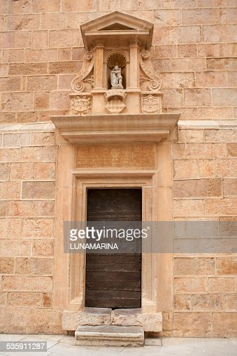 Castellon el Fadri tower door in Plaza Mayor square : Stock Photo