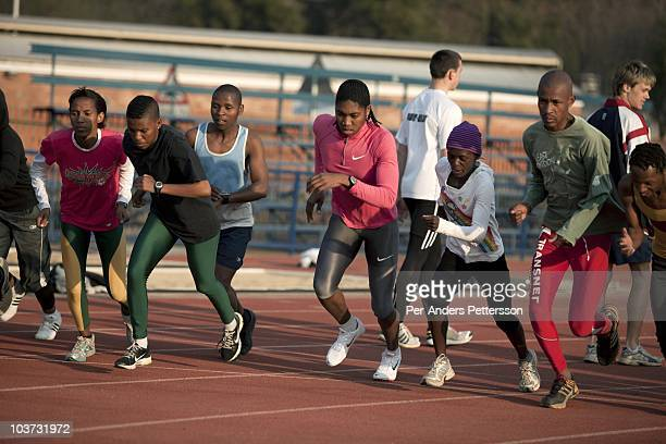 Caster Semenya age 19 runs during a training session at the High Performance Center at the university of Pretoria on August 10 2010 in Pretoria South...
