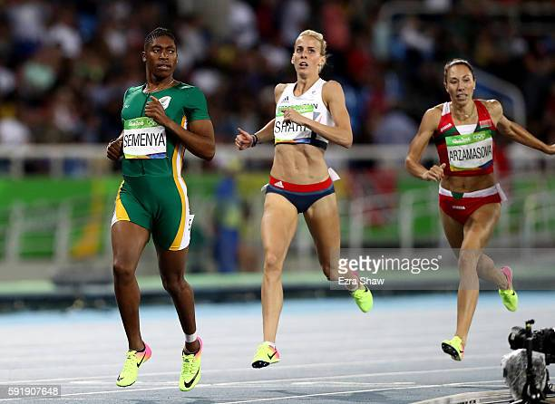 Caster Semenya of South Africa and Lynsey Sharp of Great Britain compete in the Women's 800m Semifinals on Day 13 of the Rio 2016 Olympic Games at...