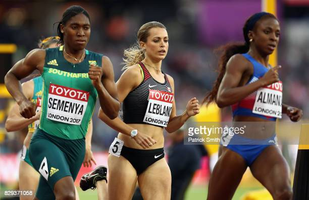 Caster Semenya of South Africa Annie Leblanc of Canada and Rose Mary Almanza of Cuba compete in the womens 800 metres during day seven of the 16th...